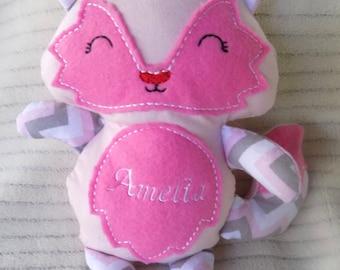 Pink Fox Stuffed Animal, Baby Fox Stuffed Animal, Nursery Decor, Fox Plush Toy, Personalized Fox Stuffed Animal, Girl Stuffed Animal