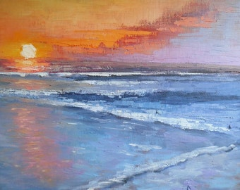 Seascape with sunset canvas print, Sunset Giclee, Seascape Giclee , orange, blue, free shipping, choose your size, no frame required