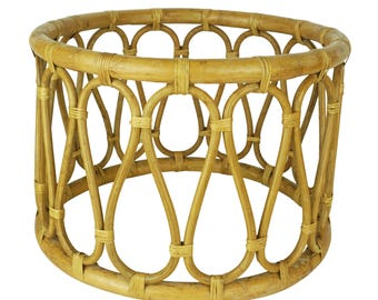 Vintage Round Bohemian Boho Bamboo Wicker Rattan Cane Bentwood Drum Side Table, Wicker Table, Plant Stand, Ottoman, Stool, Woven Planter