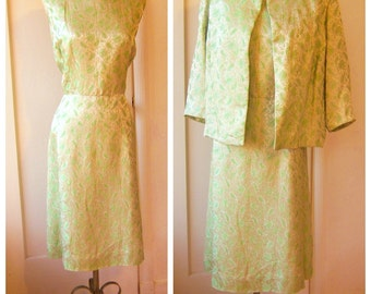 60s brocade dress set / Gold green paisley / vintage cocktail dress, mid century party dress / large xlarge xl plus size, bust 48