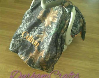Personalized Camo Blanket/Nursing cover  Canopy for Car Seat with Minky Back