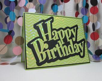 Shiny Green Happy Birthday Card - green black