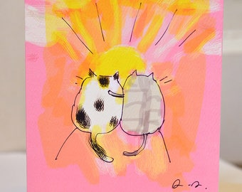 Friendship Cat Card - Sunrise/Sunset Cats - Thinking of you - Pet Sympathy Card - Get Well Soon - Miss You Card