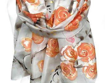 Hand Paint Silk Scarf. Rose Scarf. Anniversary Birthday Gift. Foulard Soie. Silk Shawl Painting. Woman Orange scarf. 18x71in. MADE2ORDER