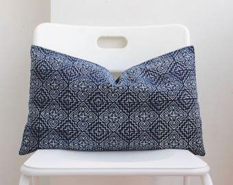 Hmong Blue Batik indigo Lumbar Pillow Cover CL16
