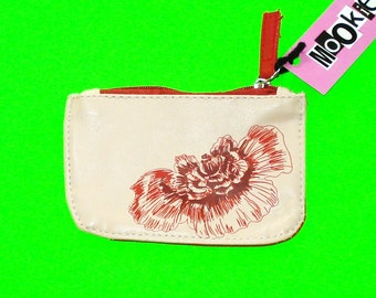 Red Poppy Flower Printed Zippered Pouch Cream Wallet Nature Inspired Coin Purse