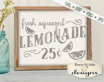 Lemonade SVG File - lemonade stand svg - Fresh Squeezed Lemonade svg  - lemonade sign cuttable  - Commercial Use svg, dxf, png, jpg files