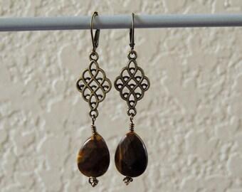 Tiger's Eye teardrop earrings - Antiqued brass Tiger's Eye earrings - Brown Dangle Earrings - Tiger's Eye earrings - Brown Jewelry Bohemian