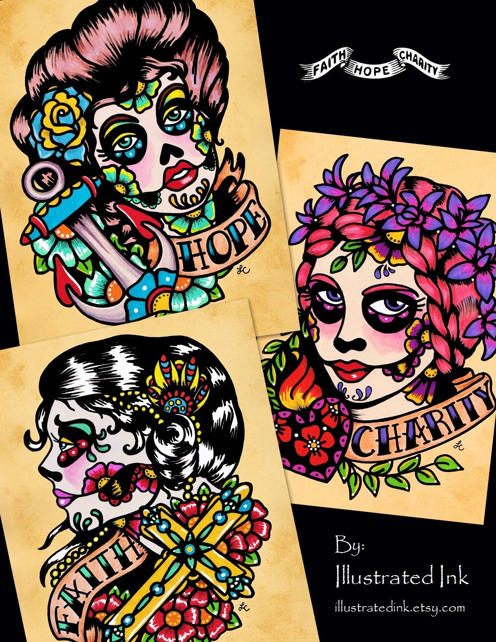 Day of the Dead Tattoo Prints FAITH HOPE and CHARITY 5 x 7