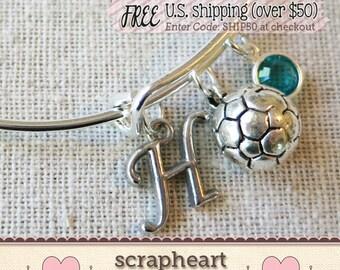 SOCCER COACH GIFT, Personalized Initial Soccer Bangle Bracelet, Soccer Team Charm Bracelet, Soccer Coach Mom Bracelet, Soccer Ball Bracelet