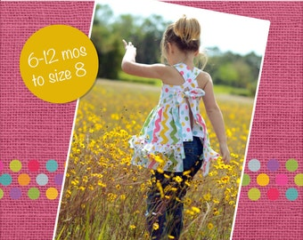 Lacey's Apron Top with Reversible Option PDF Pattern size size 6-12 months to size 8
