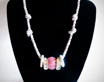 Pink and Silver Beaded & Knotted Cord Rope Necklace