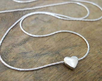 Heart Bead Necklace, Silver Heart Necklace, Sterling Silver Necklace, Layering Necklace, Silver Heart Pendant, Simple Silver Necklace, #311