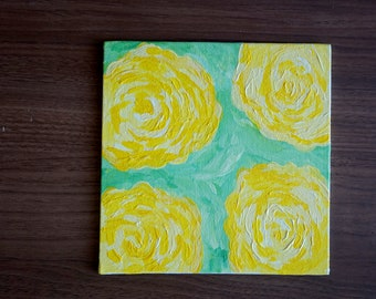 Yellow Roses Acrylic Painting, 6 inches x 6 inches