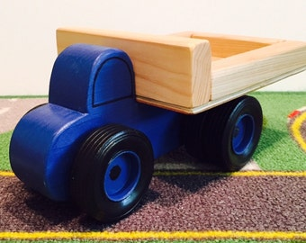 Toy Blue Truck with Dual Wheel on Rear - Handcrafted Toy Wood Blue Farm Work Truck with Dual Wheels
