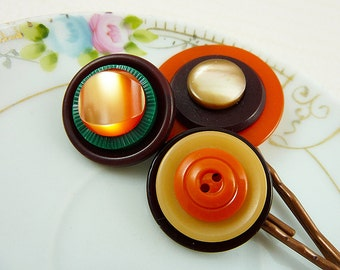 Rustic Fall Colors Button Bobby Pin Set in Orange, Yellow, Brown and Green