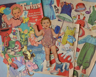Vintage 1960 Twins Brother Sister Paper Dolls Toys and Clothes
