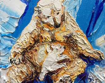 Polar Bear and Cub 5x5 Inch Original Impasto Oil Painting by Paris Wyatt Llanso