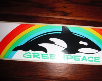 vintage whale and rainbow greenpeace stickers X 3
