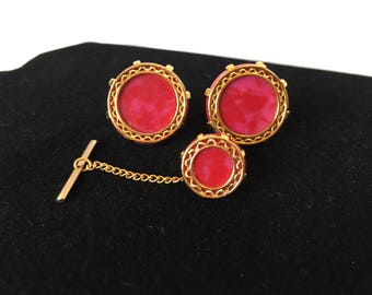 Vintage, Red and Gold Filigree, Round Cufflink and Tie Pin Set