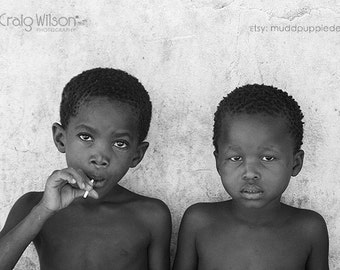 Street PORTRAIT PRINT African Children monochrome Nature Black White Grey Wall art African life Africa kids head shot lollipop sweets office