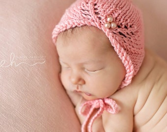 Knit Baby Hat, Photography Prop, Newborn Baby Bonnet, Newborn Photo Prop, Knit Photo prop, Asymmetrical Bonnet, Pearls, Pick your color