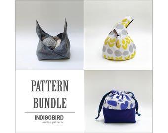 Knitting Bag, Project Bag, Knot Bag, Pattern bundle, Drawstring bag, bento bag