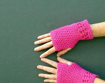 cotton fingerless gloves/ hot pink crochet