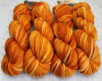 SUPRA Tonals - Super Bulky Merino Wool Yarn - PUMPKIN - Single Ply dyed chunky knitting weaving crochet doll hair Waldorf thick quick