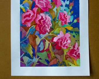 Original watercolor painting, roses,flowers,size 11in x15in