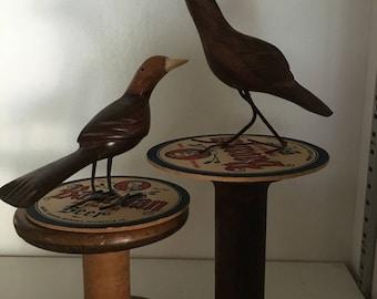Pair of Hand Carved inlayed folk art wood bird figurines - vintage