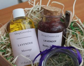 Mothersday gift Gift for her Gift for best friend Gift Set for SPA Lavender body set Anti-cellulite treatment Body scrub Body oil Lavender