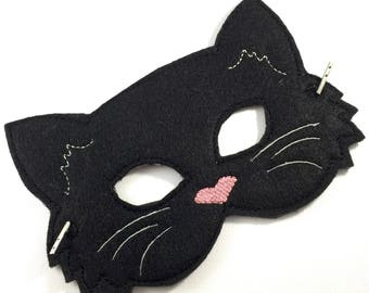 Black Cat felt mask - dress up - toddler mask - cat Halloween costume - whimsical Halloween ideas - party favors - cat masks