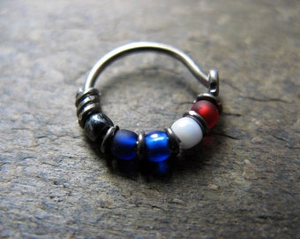 captain america hoop-- superhero nose ring or hoop earring-- handmade by thebeadedlily