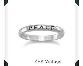 "Oxidized ""Peace"" Band - Inspirational Ring, Stamped Ring"