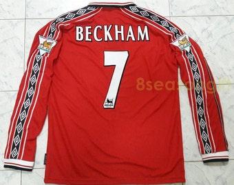 Vintage Manchester United #7 BECKHAM Long Sleeve Soccer Jersey Football Shirt