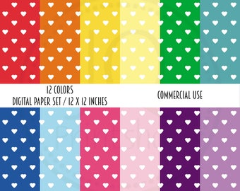 Sale Price, Digital Paper Pack, small hearts, rainbow colors, scrapbook paper, commercial use