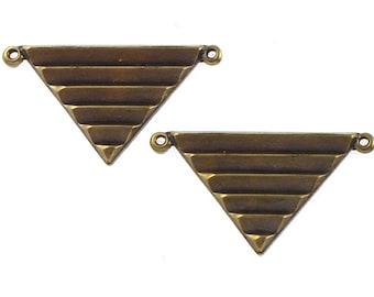 SALE 3 TRIANGLE geometric jewelry pendant in antique brass. 17mm x 29mm (ST67)