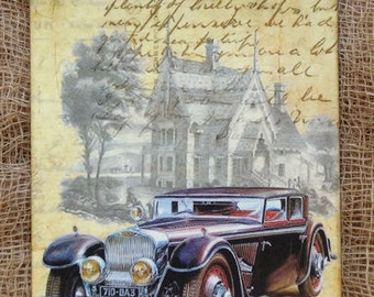Vintage Style Old Car Victorian House Gift or Scrapbook Tags or Magnet #371