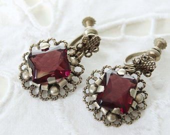 Vintage Mexican Silver Screw Back Dangle Earrings with Faceted Glass Stones