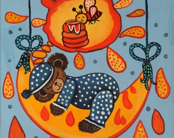 Little bear dreaming of honey, canvas 14 x 18 inch, naive artwork, acrylic Baby Shower gift.