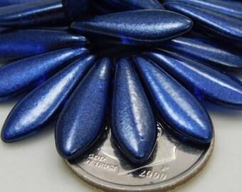 Czech Glass Dagger Beads 16x5mm Satin Blue  (10pk) SI-16x5D-SBlue