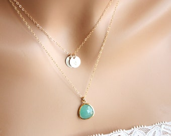 Personalized Double necklace with two initial Disks and Stone in bezel - Gold Filled- You can choice Style of necklace, color of stone