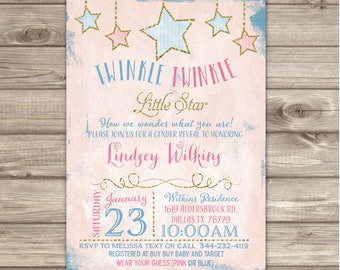 Gender Reveal Twinkle Little Star Baby Shower Invitations+ Bring a Book Request Cards Printable  NV1012