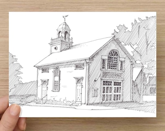 Ink Drawing of historic Seaside No 1 Firehouse in Manchester By The Sea - Architecture, Sketch, 5x7 Print, Art, Illustration, Pen and Ink