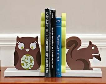 Woodland Owl Squirrel Wooden Nursery Bookends / Book stands / Book holders -  Birthday / Baby Shower Gift
