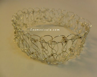 Wire crochet bracelet. Crocheted with bleached brass wire and beads. On request also available with copper wire or brass wire.