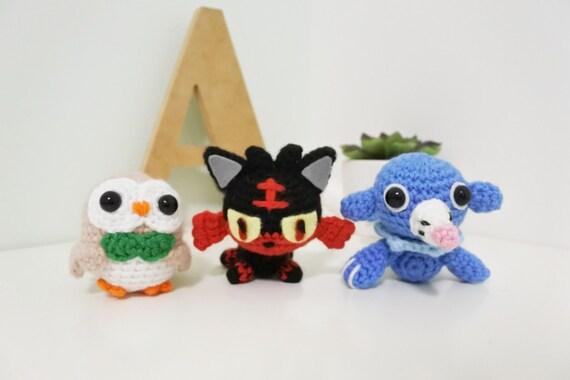 Pokemones amigurumis : Rowlet litten popplio amigurumi alola starter pack pokemon