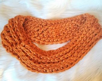 Orange Bulky Crochet Infinity Scarf \ Circle Scarf \ Cowl \ Neck Warmer