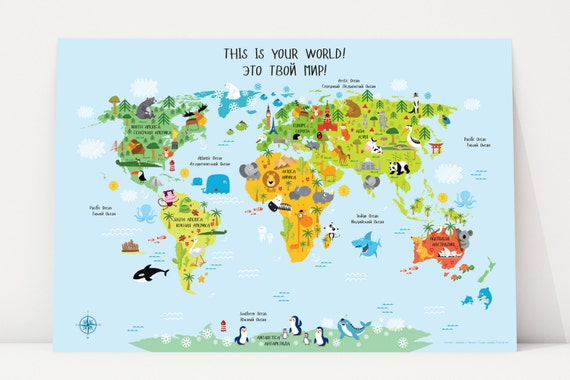 Russian english digital download world map for kids russian english digital download world map for kids playroom art nursery decor childrens world map baby gift toddler playroom decor gumiabroncs Images